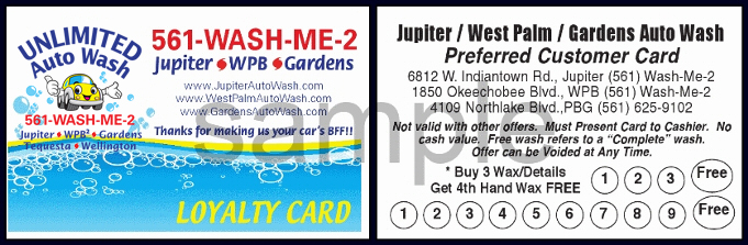 Unlimited Auto Wash Loyalty Card Info